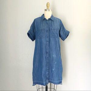 Madewell Jean raw hem button up dress